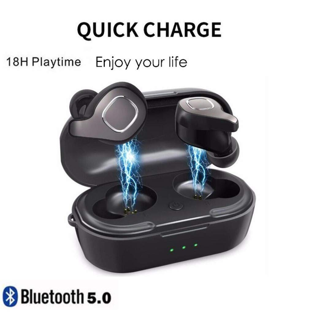 Bluetooth Headphones Over Ear, Hi-Fi Stereo Wireless Headset, Foldable, Soft Memory-Protein Earmuffs, w/Built-in Mic (Black, Free size)