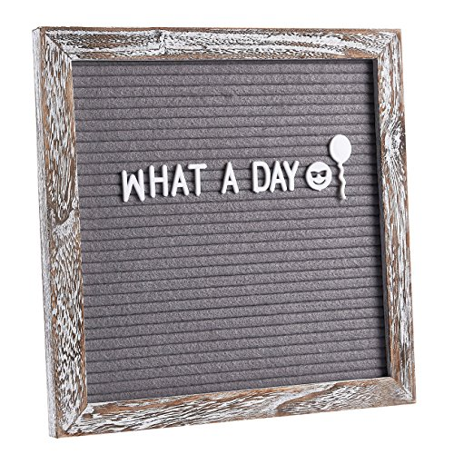 Felt Letter Board - Changeable Letter Board with Wooden Easel Stand, Pouch, Scissors, 375 Plastic Letters, Numbers, and Emoji Symbols for Message Display, Office Sign, Decoration, Grey, 10 x 10 Inches by Juvale (Image #3)