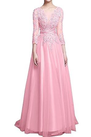 Vestido de Mujer Rosa Princesa Encaje línea A Tuell 3/4 ...