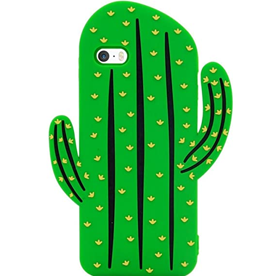 detailed look bd620 83ecf iPhone SE Case, MC Fashion Cute 3D Vivid Cactus Prickly Pear Plant Soft and  Protective Silicone Rubber Phone Case for Apple iPhone 5/5S/SE (Cactus)