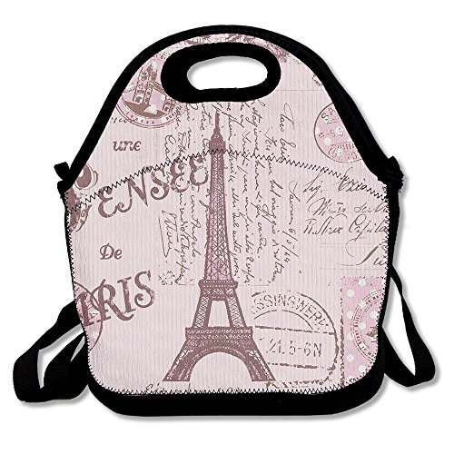 Pink Paris Stamps Pattern Eiffel Tower Insulated Lunch Bag - Neoprene Lunch Bag - Large Reusable Lunch Tote Bags For Women, Teens, Girls, Kids, Baby, Adults Portable Carry