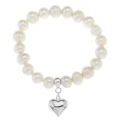 Ornami 925 Sterling Silver Heart Charm Freshwater Pearl Stretch Bracelet 17.5 cm