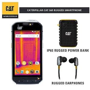 CAT S60 Single SIM Rugged Waterproof Unlocked Smartphone - North American Variant Bundle with 10000mAh Power Bank & CAT Rugged Earphones