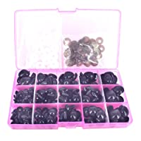 BESTCYC 75Pcs 10/12/14/16/18MM 5 Sizes in a Box Black Plastic Safety Eyes and Noses Set for Teddy Bear Doll Animal Puppet Craft