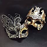 Gold / Black Flying Butterfly Women Mask & Gold Roman Warrior Men Mask Venetian Couple Masks For Masquerade / Party / Ball Prom / Mardi Gras / Wedding / Wall Decoration