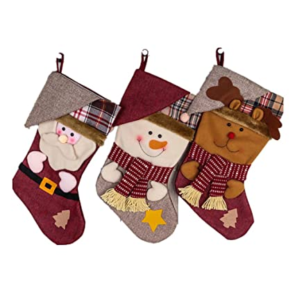 OULII Medias de Navidad Grande Adorno Colgante Decoración de Navidad Papa Noel Renos Muñeco de Nieve