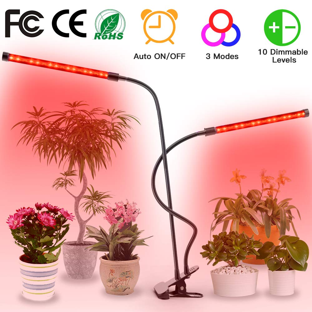 Plant Light for Indoor Plants – Upgraded LED Grow Light Auto On Off with 3 6 12H Timer – Triple Head Adjustable Grow Lamp – 5 Dimmable Levels and 3 Lighting Modes Plant Lights for Indoor Plants LED