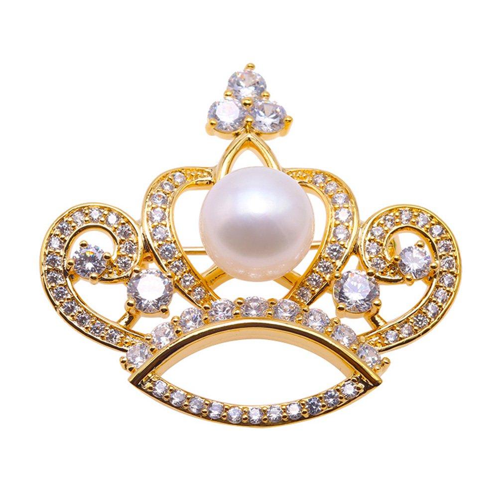 JYX Fine Brooch Crown-style White Freshwater Pearl Brooch