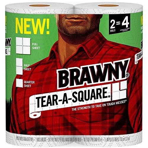 Brawny Tear-A-Square Paper Towels, 2 Rolls, 2 = 4 Regular Rolls, 3 Sheet Size Options ()
