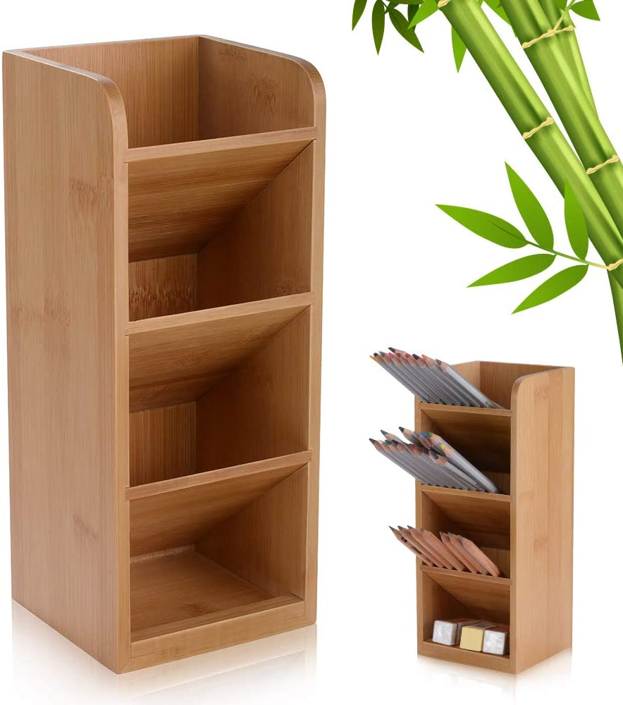 Bamboo Tiered Pen Holder, Wood Desk Organizer, Multi-Functional Desktop Stationary Storage Rack, Pen Caddy for School Home Office Art Supplies Kitchen