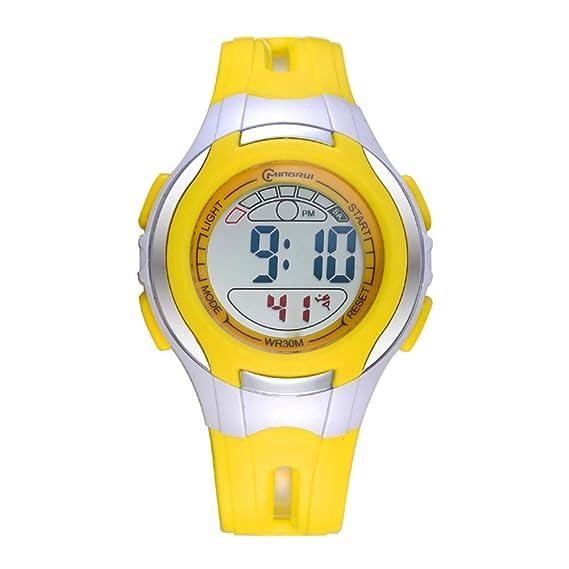 Niño] Relojes digitales,Impermeable Luminoso Encantador] Despertador Watch Chico Relojes de chica Correa con hebilla pasador-H: Amazon.es: Relojes