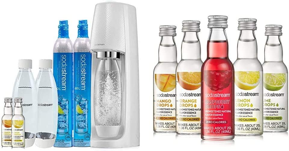 SodaStream Fizzi Sparkling Water Maker Bundle (White), with CO2, BPA free Bottles, and 0 Calorie Fruit Drops Flavors & Fruit Drops Variety Pack, 1.67 Pound