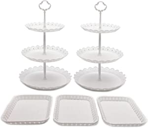 FEOOWV Set of 5 Pcs Round 3-Tier Cake Stand Party Food Server Display Stand with Plastic Serving Trays for Wedding Birthday Party Decor (Style B)
