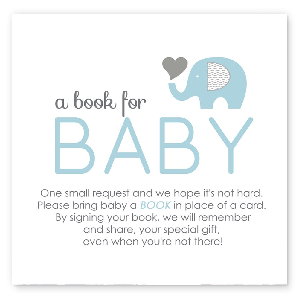 Elephant Bring a Book for Baby Insert Cards Blue Set of 25