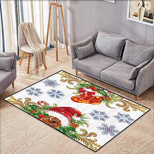 Anti-Static Rug Christmas Winter Ornaments Christmas Retro Decorative with Stocking and Santa Hat Mistletoe Snowflakes Classic Theme Multi Breathability W5'2 xL4'6