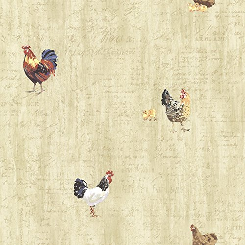 Chesapeake CTR64213 Lisle Wheat Roosters and Script Wallpaper