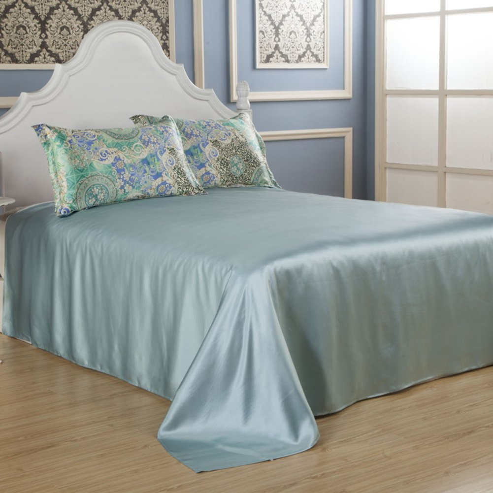 Bed sheets solid color non-slip silk bedroom soft comfortable-B 245x250cm(96x98inch)