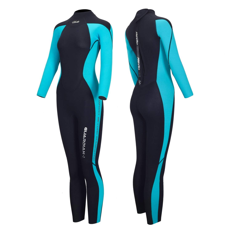 Hevto Wetsuits Women 3mm Neoprene Long Sleeve Full Scuba Diving Suits Surfing Swimsuits Keep Warm Back Zip for Water Sports (Blue Women Ⅰ, XS)