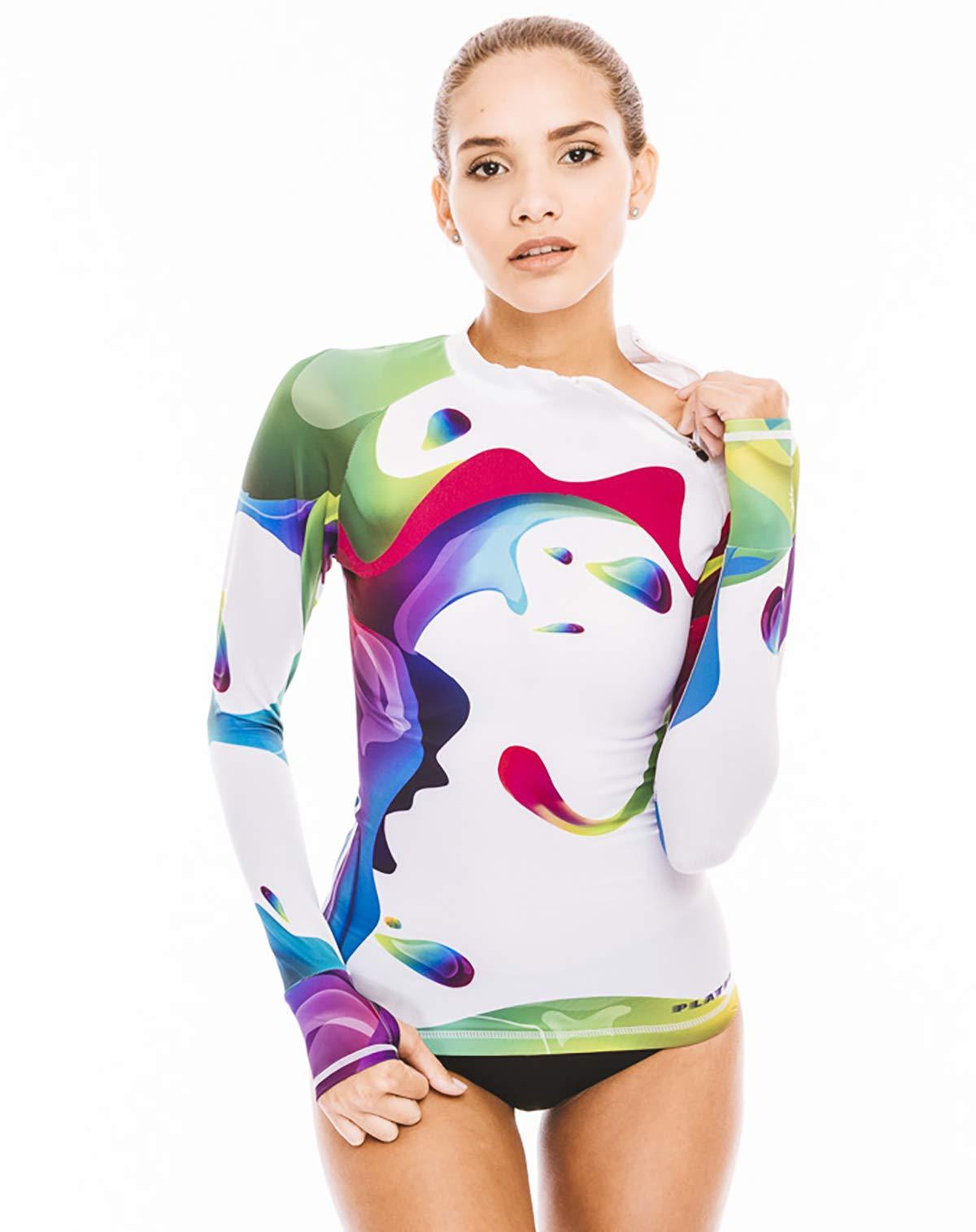 Women's Rash Guard Swim Shirt Long Sleeve Swimsuit Top Bathing Swimming Shirts - Sun Protection Clothing UPF 30+ (Rainbow Neck Zipper, XL) by Platinum Sun