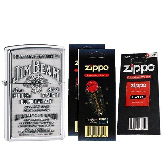 Zippo 250JB928 Jim Beam - Mechero de peltre cromado resistente al viento, con dos tarjetas