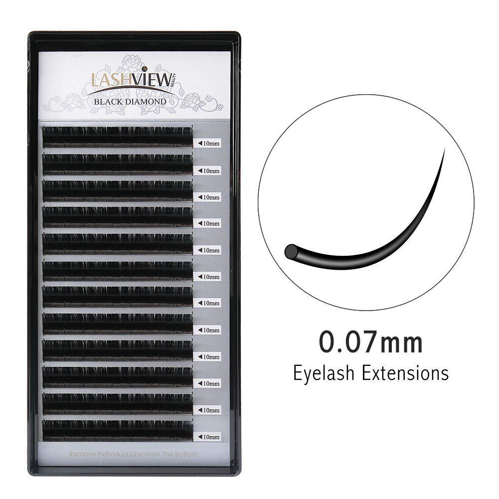 e2f2f7ce64c LASHVIEW D curl Silk Mink Eyelash Extension 0.07 Thickness Semi-permanent  False Eyelashes 10mm Premium