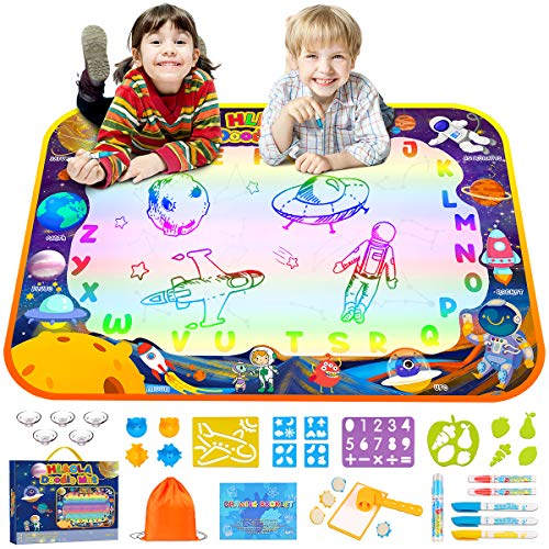 HLAOLA Aqua Magic Doodle Mat 47 x 35 Inches Extra Large Water Drawing Doodling Mat Coloring Mat Writing Educational Toys Gift for Kids Boys Girls Age 3 4 5 6 7 8 Year Old-Interstellar Wandering