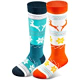 Kids Ski Socks (2 Pairs/3 Pairs) for Boys Girls Thick Warm for Winter Snow Skiing Snowboard Sports