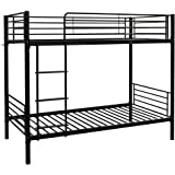 Bonnlo Metal Bunk Bed Twin Over Twin Heavy Duty Bed Frame with Safety Guard Rails & Flat Ladder W/Rubber Cover for Kids Teens