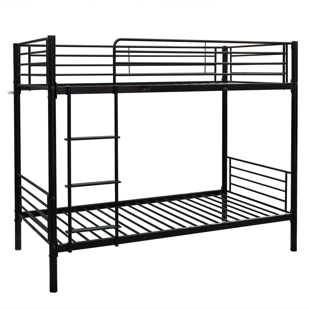 Bonnlo Metal Bunk Bed Twin Over Twin Heavy Duty Bed Frame with Safety Guard Rails & Flat Ladder W/Rubber Cover for Kids Teens Adults, Black by Bonnlo