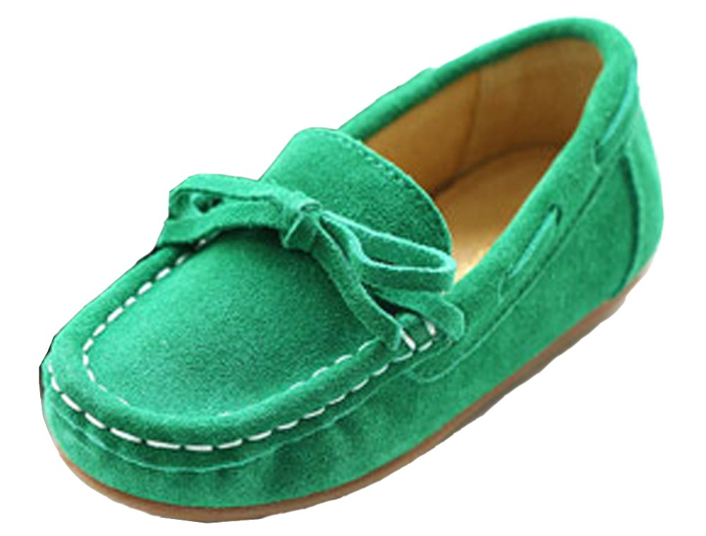 VECJUNIA Girls Soft Suede Bow Dress Loafers Indoor Slippers Oxford Moccasins Green 13 M US Little Kid
