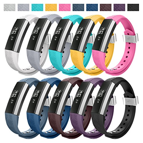 Greeninsync Wristbands Compatible with Fitbit and Replacement for Fitbit Alta & Alta HR, Ace Wristbands with Metal Clasp and Ultrathin Fastener (10pack)