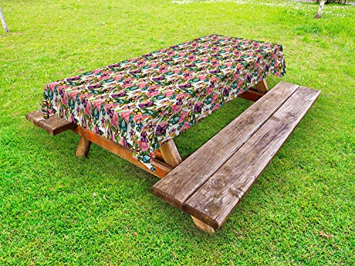 Ambesonne Dusty Blue Outdoor Tablecloth, Vibrant Tender Camellia Flowers and Butterflies with Leaves Tropical Feels, Decorative Washable Picnic Table Cloth, 58 X 84 Inches, Multicolor