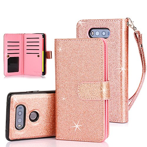 LG V20 Case, TabPow 10 Card Slot - [ID Slot] Wallet Folio PU Leather Case Cover With Detachable Magnetic Hard Case For LG V20 - Glitter Rose Gold