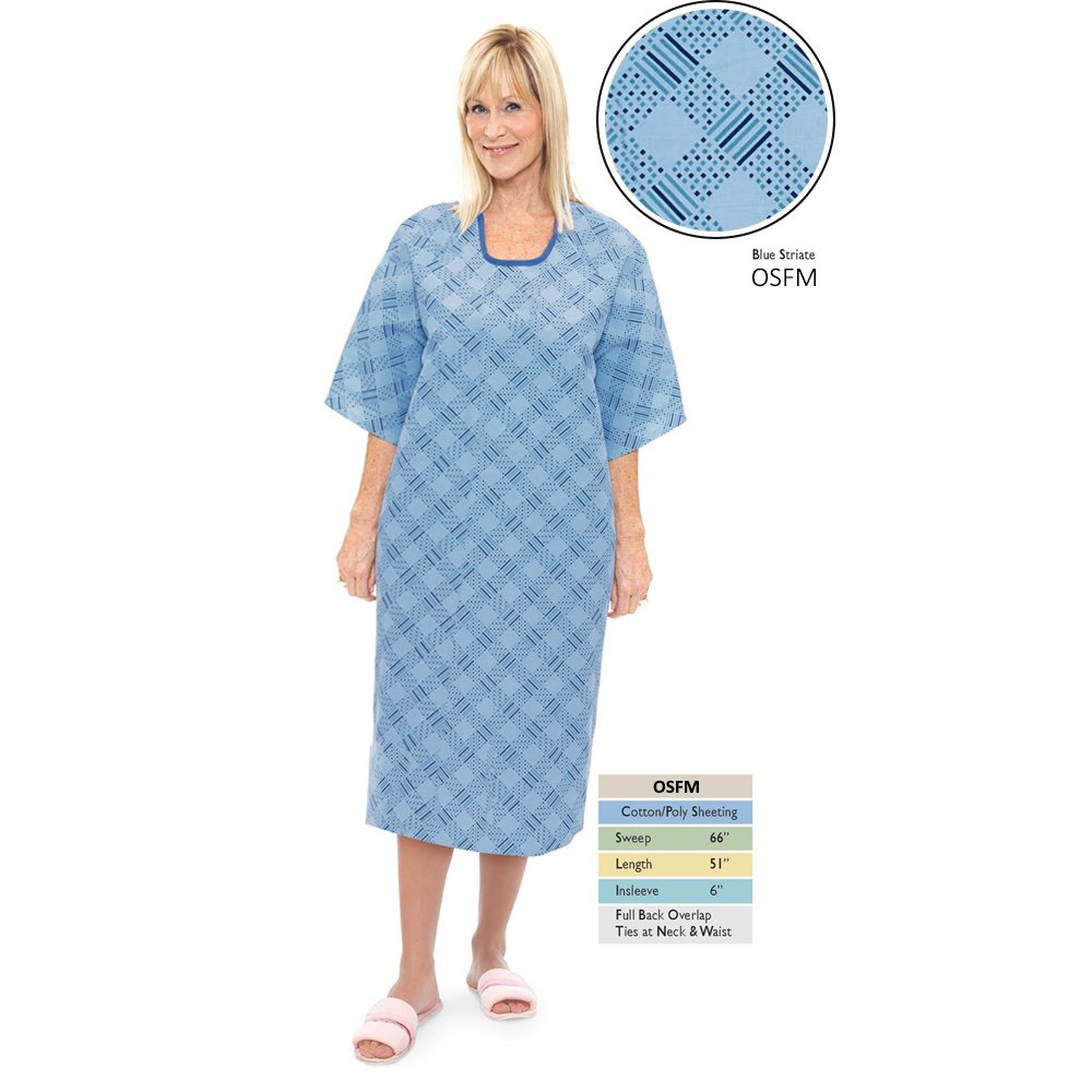Personal Touch Unisex Blue Striate Angle Back Overlap Premium Patient Hospital Gown (Pack of 4)