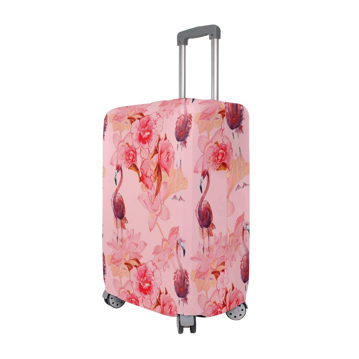 VIKKO Pink Flowers And Flamingo Travel Luggage Cover Suitcase Cover Protector Travel Case Bag Protector Elastic Luggage Case Cover Fits 29-32 Inch Luggage for Kids Men Women Travel