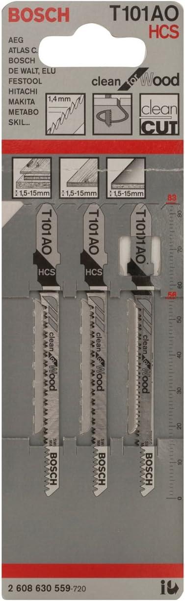 Bosch Professional 2 608 630 559 Bosch 559-Hoja de Sierra de calar T 101 AO-Clean for Wood (Pack de 3)