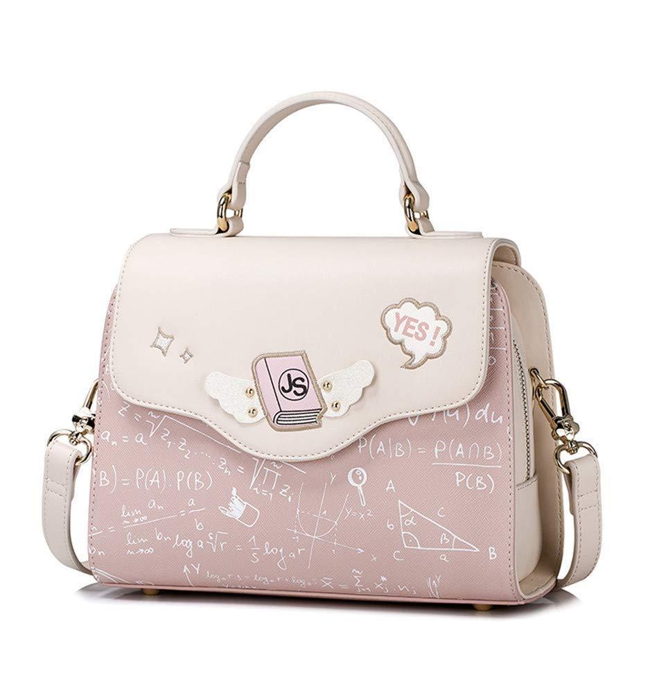 MLDBB 婦人用バッグファッションハンドバッグショルダーバッグメッセンジャーバッグワイルドスモールスクエアバッグフォーミュラプリント、ピンク   B07RH7V13N