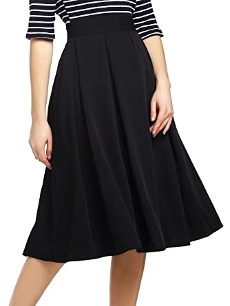 4278646a1 Beluring Midi Skirts For Women High Waist Pleated Black Size 14. Roll over  image to ...