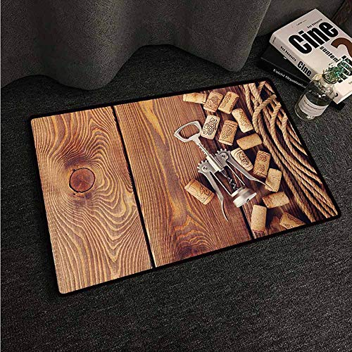 HCCJLCKS Entrance Door mat Winery Wine Corks Rustic Wooden Ground Natural Organic Liquor Elements Vintage Harvest Top View Non-Slip Door mat pad Machine can be Washed W30 xL39 Brown (Wwe Top 10 Returns Of All Time)