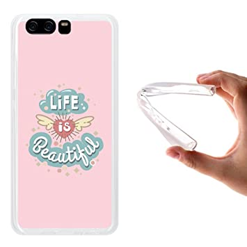 WoowCase Funda Huawei P10, [Huawei P10 ] Funda Silicona Gel Flexible Frase Life is Beautiful, Carcasa Case TPU Silicona - Transparente