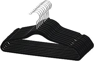 Home Basics Velvet Hangers Non-Slip Hanger-10 Pack-Clothes Hangers, Space Saving Ultra Slim Velvet Hanger with Rotating Steel Hook (10, Black)