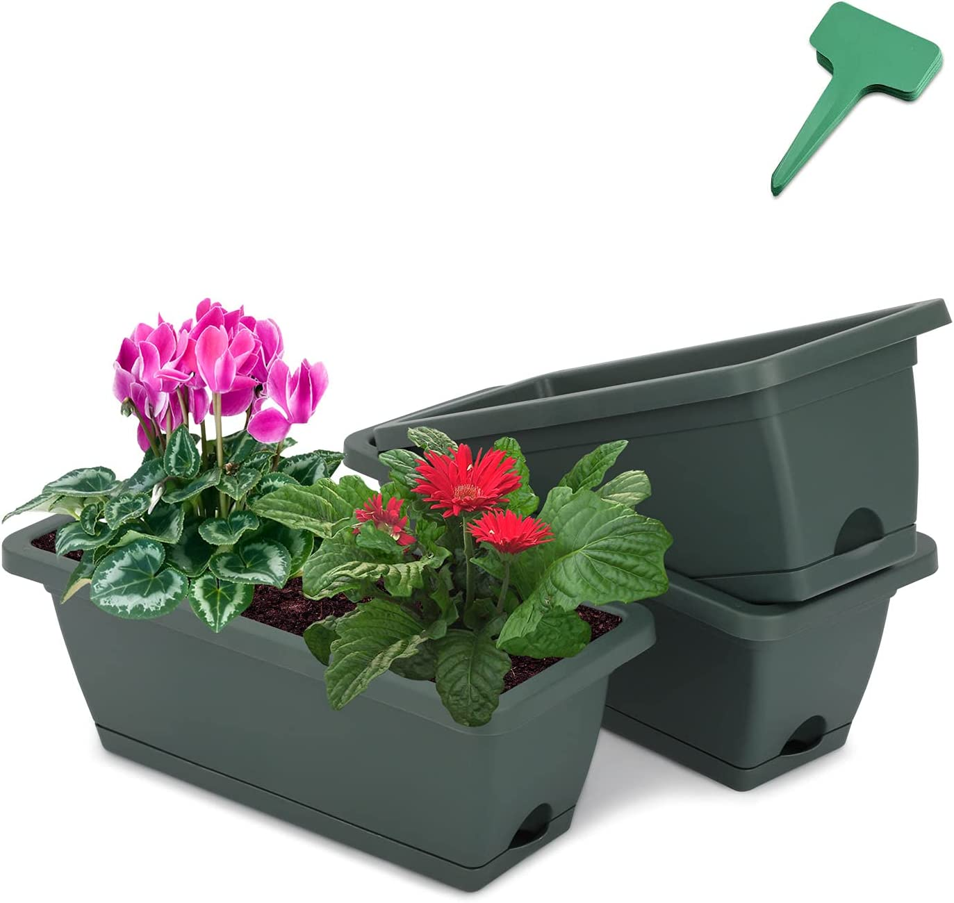 CEED4U 17 Inches 3 Packs Green Window Box Rectangular Flower Vegetable Planter Boxes Plastic Flower Pot with 15 Pcs Plant Labels, Plant Container with Saucer for Windowsill, Patio, Garden, Home Décor