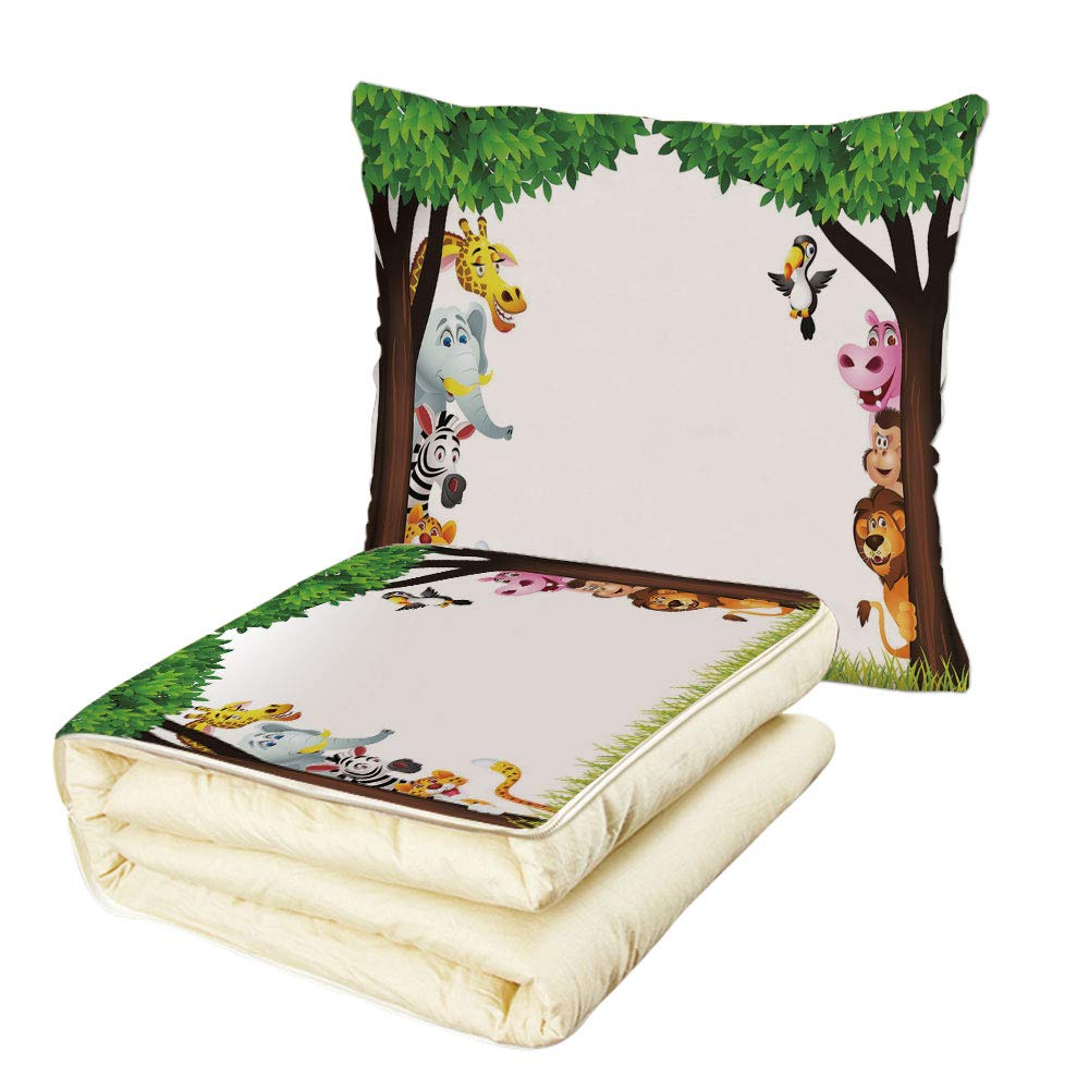 iPrint Quilt Dual-Use Pillow Nursery Big Trees and Friendly Jungle Safari Animals Wilderness Tropical African Wildlife Multifunctional Air-Conditioning Quilt Multicolor