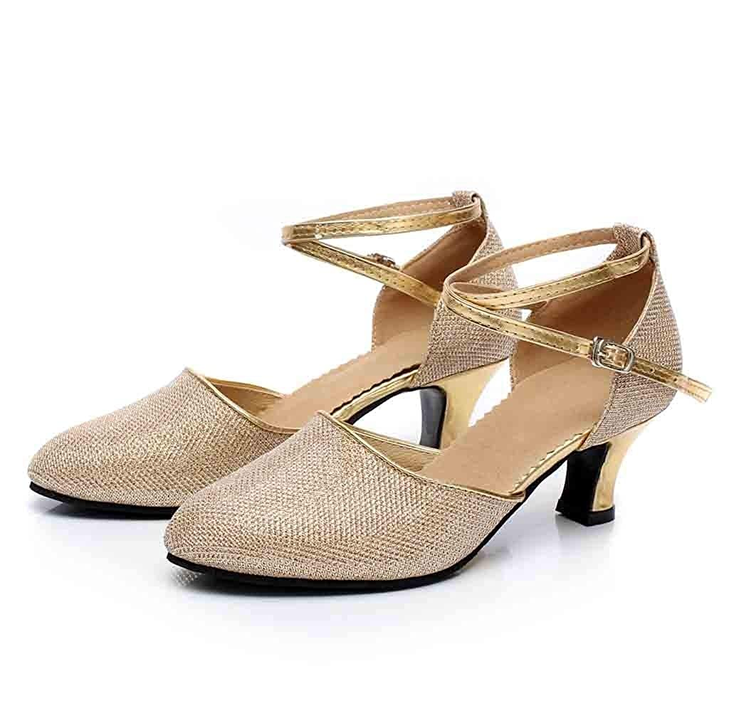 RYTEJFES Zapatos De Baile Latino para Mujer Zapatos De Lentejuelas Zapato De Baile Social Zapatos Flamenco Zapatos De Baile De Tango Zapatos De Boda Zapatos con Punta De Correa De Tobillo para Mujer