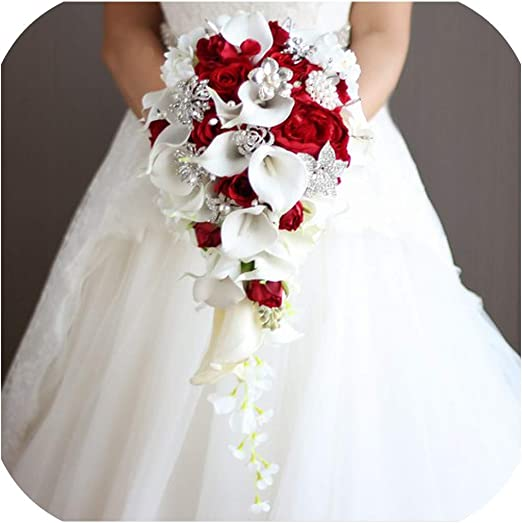 Amazon Com Brooch Flores Novia Wedding Bouquets Pink Red Blue