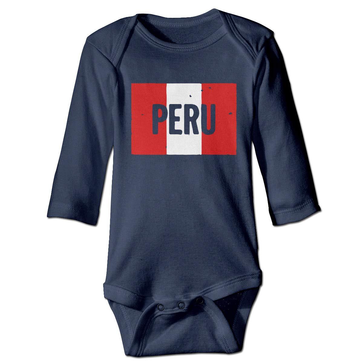 Infant Baby Girls Long Sleeve Climb Jumpsuit Peru Vintage Flag Print Jumpsuit