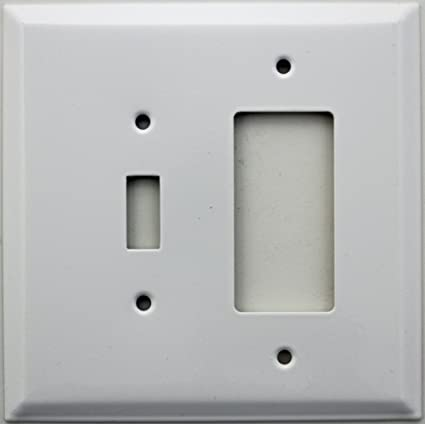 Over Sized Jumbo Smooth White 2 Gang Wall Plate 1 Toggle 1 Gfi