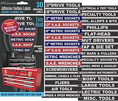 Tool Box Organizer Labels - Tough Foil adhesive decals for all toolboxes Craftsman, Snap-On, & Cornwell, Husky, Stack On & more - stainless, aluminum, plastic & steel. organize it quick & (Tough Chest)
