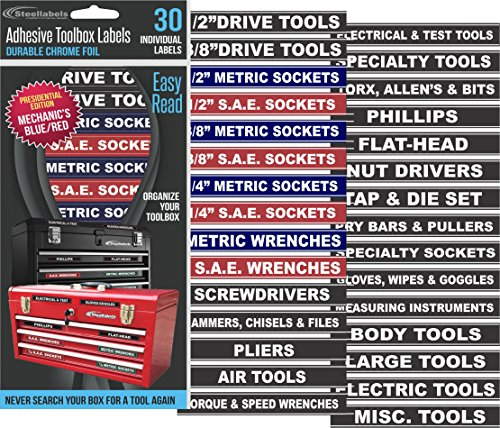 Tool Box Organizer Labels - Tough Foil adhesive decals for all toolboxes Craftsman, Snap-On, & Cornwell, Husky, Stack On & more - stainless, aluminum, plastic & steel. organize it quick & easy (Decals Quick)