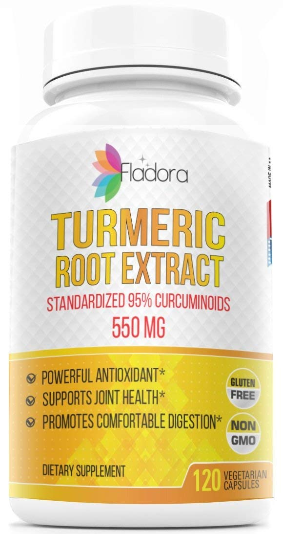 Turmeric Curcumin Root Extract, 550mg Antioxidant Anti-Inflammatory Joint Pain Relief Standardized 95 Curcuminoids, 120 Vegetarian Capsules by Fladora, Non-GMO, Gluten-Free